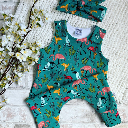 Full Leg Romper - Tropical Birds