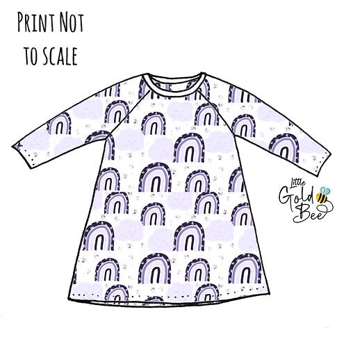 T-Shirt Dress - Purple Leopard Rainbows