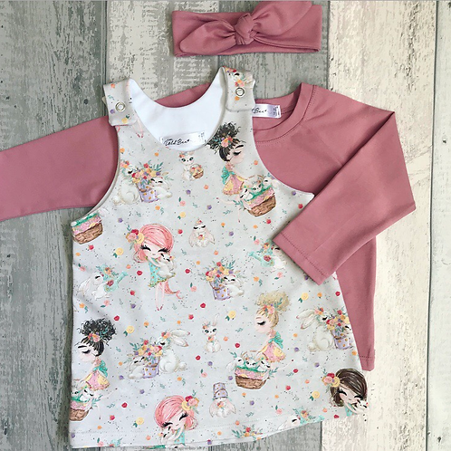 Pinafore Set - Bunnies & Girls