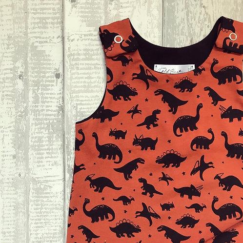 Shortie Romper - Rust Dinosaurs