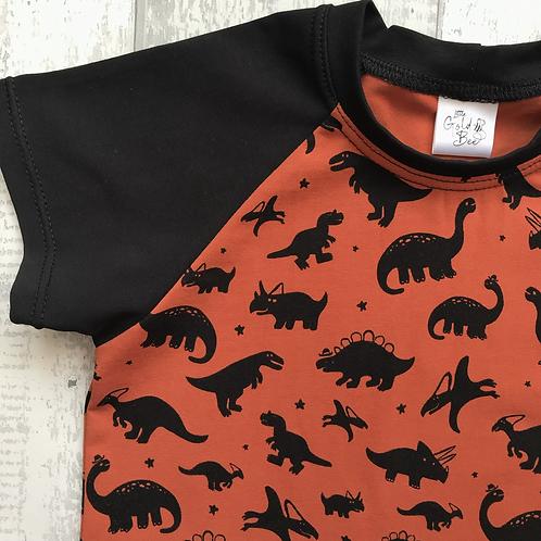 T-Shirt Dress - Rust Dinosaurs