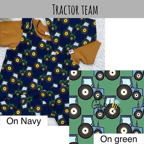 Full Leg Dungarees - Tractor Team (navy & green)
