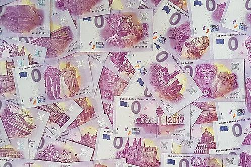 0 Euro Schein Start-Paket - 10 Souvenirscheine unserer Wahl (2017 und 2018)