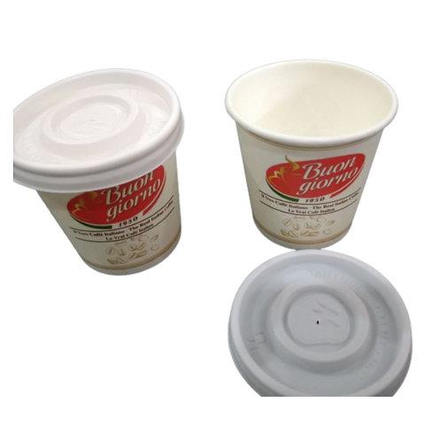 100 x Espresso paper cups branded Caffè Buongiorno (4oz/8cl) & 100 lids