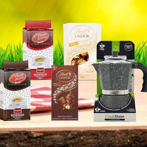 OFFER - MOKA POT + 2 GROUND COFFEE + BOX OF LINDOR CHOCOLATES