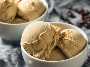 Homemade coffee ice cream infused with whole coffee beans.