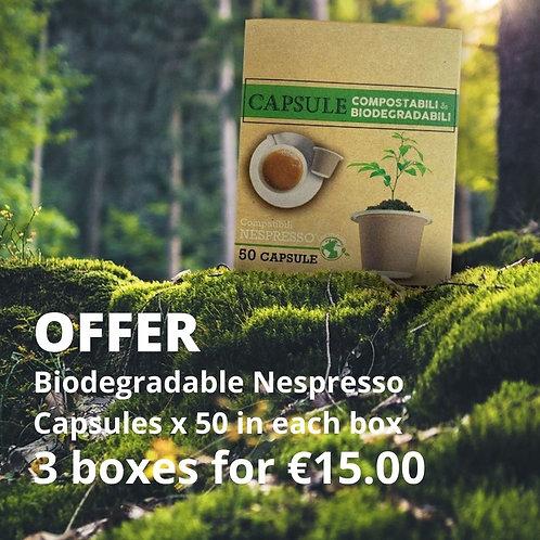 SALE: 3 boxes of Nespresso Compatible Biodegradable caps (50pcs)