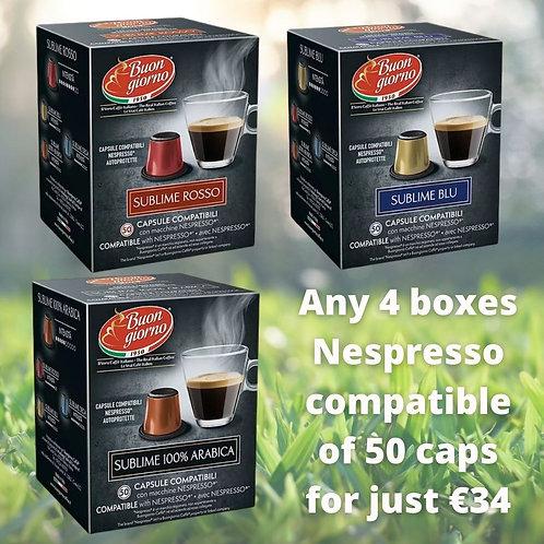 4 Boxes Nespresso Compatible Capsules (50 capsules/box)