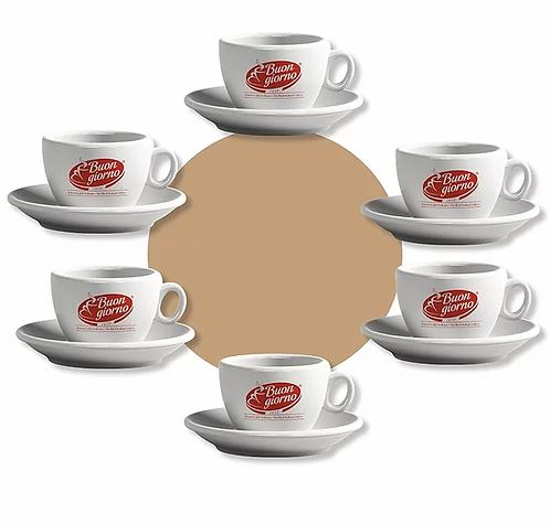 Set of 6 Cappuccino Cups - Caffè Buongiorno
