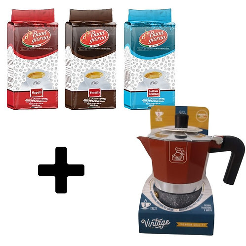 Vintage Moka Pot + 5 packs of ground coffee (250g)