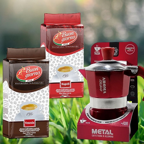 Package Offer: Aluminum Metal Gusto Casa Moka Pot + 2 packets of ground coffee