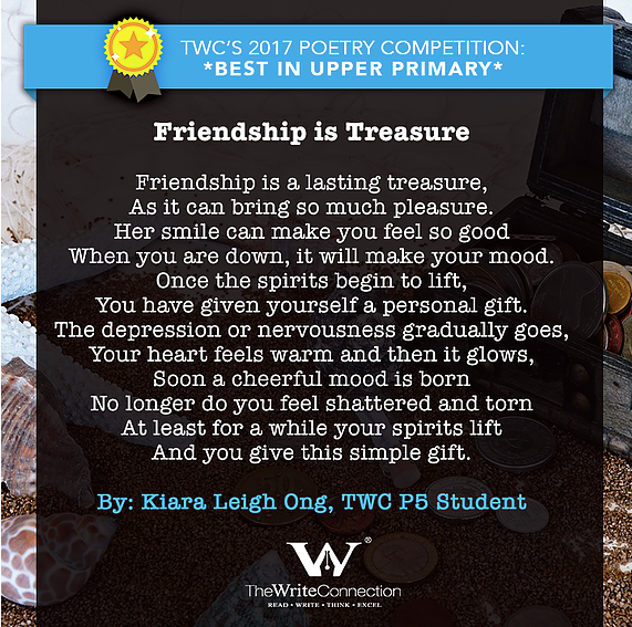 Friendship is Treasure, TWC Students' Valentine's Day Poetry, Student poem