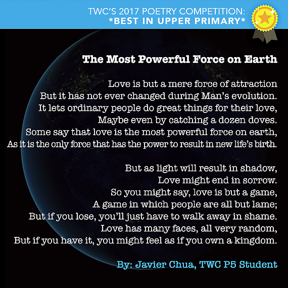 The Most Powerful Force on Earth, TWC Students' Valentine's Day Poetry, Student poem