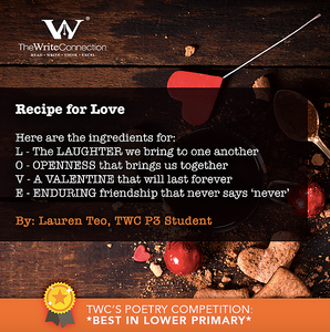 Recipe for Love, TWC Students' Valentine's Day Poetry, Student poem