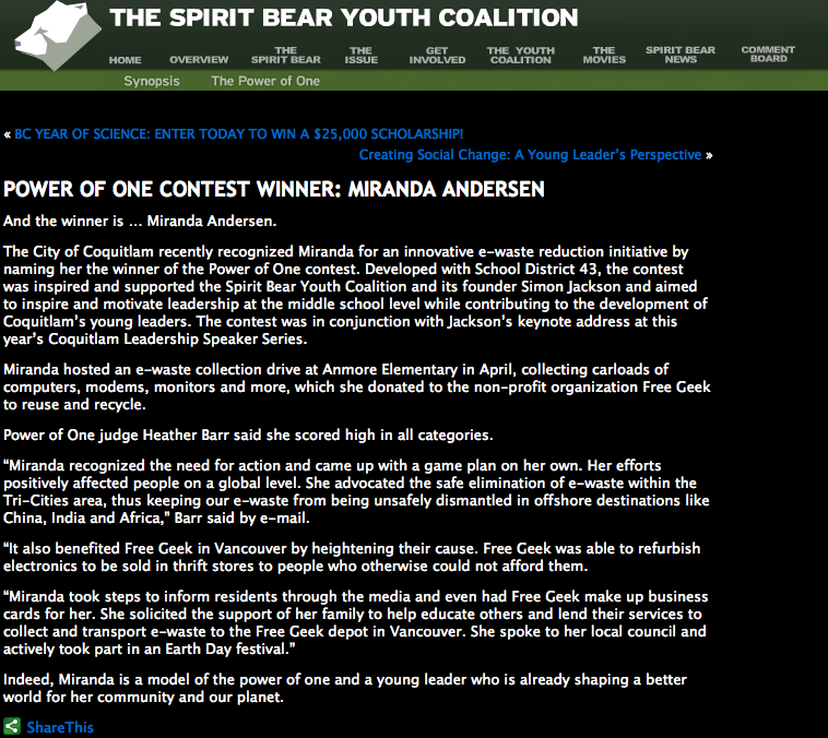 Spirit Bear Awards