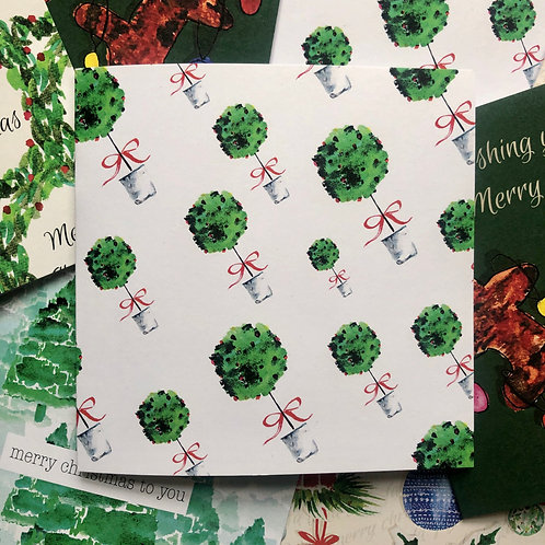 Festive Topiary Christmas Card (Pack of 10)