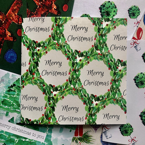 Wreath Christmas Card (Pack of 10)