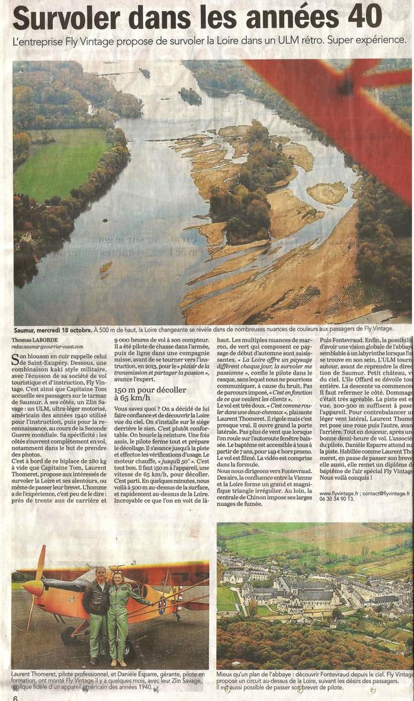 Merci Thomas pour l'article paru dans le Courrier de l'Ouest concernant l'activité de Fl