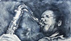 John Coltrane 48x28cm akvarell Såld