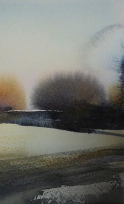 landskap 20x12cm akvarell