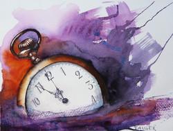 Fem i tolv akvarell 35x25