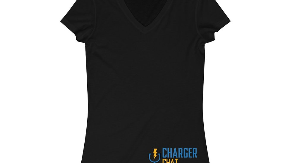 Charger Chat - Women's Jersey Short Sleeve V-Neck Tee