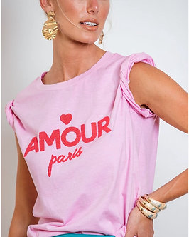 T-shirt Amour Paris com Silk flocado