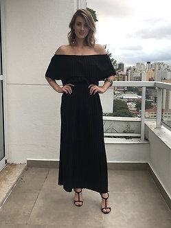 Vestido malha plisada elastico na cintura cores Preto e Cinza Chumbo