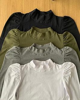 Camiseta manga longa bufante em Cotton lycra