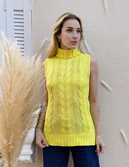 colete/blusa tricot tranças