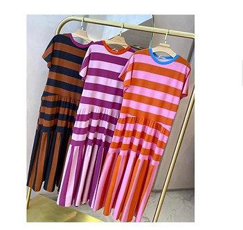 Tshirt dress (vestido camiseta- T-shirt Dress) em algodão listrado