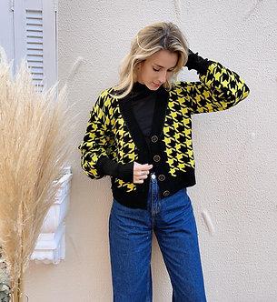 casaco tricot Pied de Poule