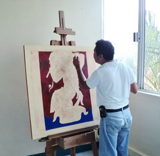 Rogelio Colli in his studio