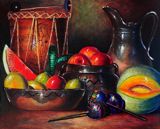 Tambor con frutas