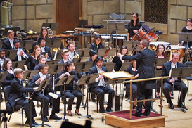 Game face on during a performance with the world renowned Eastman Wind Ensemble.