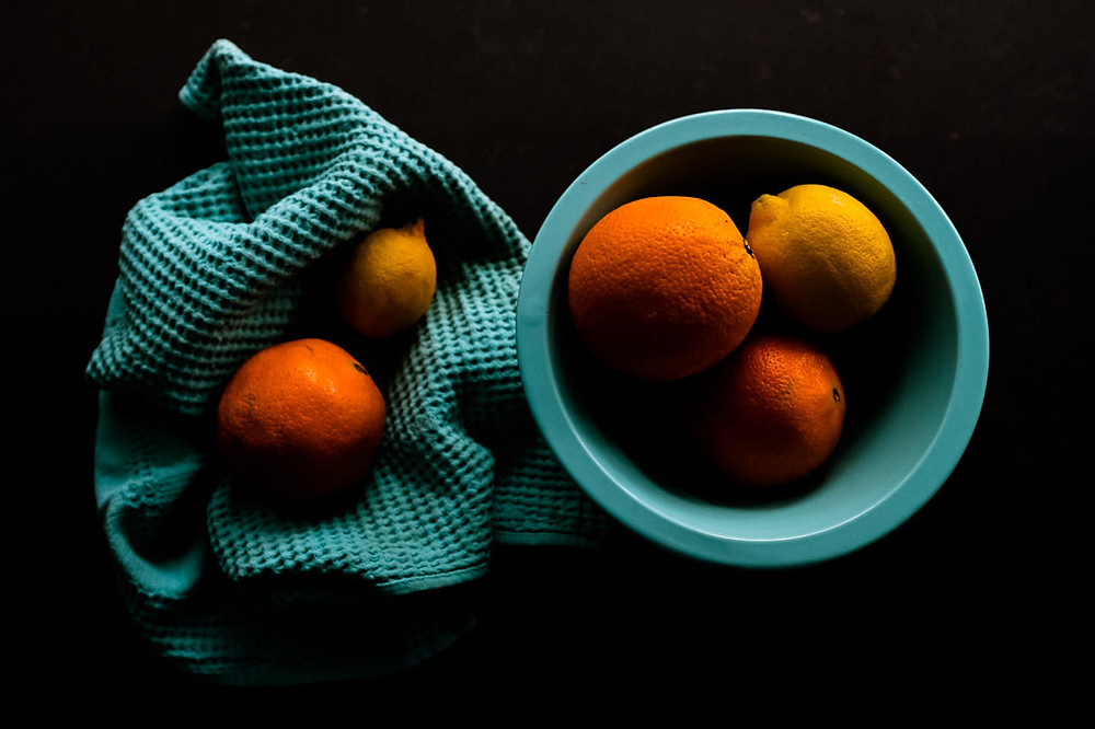 Oranges & Lemons in turquoise blue bowls