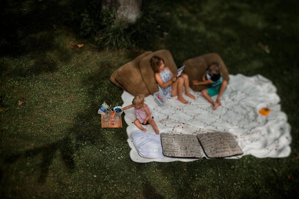 Kids on blanket from above