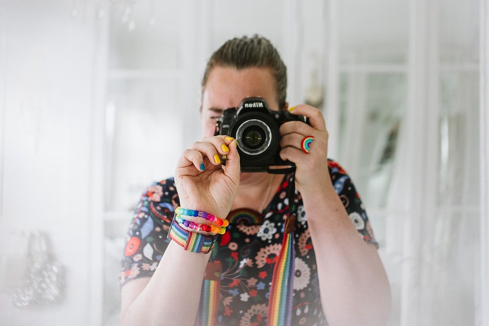 Selfie with circular prism, chandelier ring photos