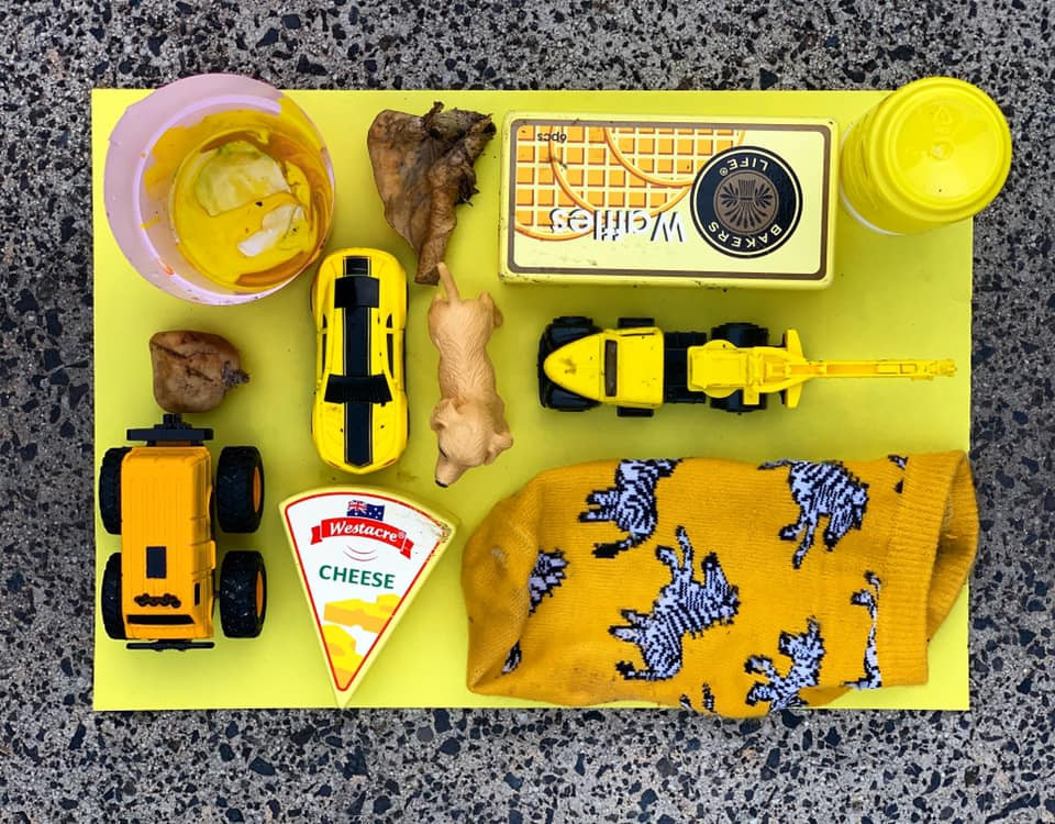 A photo of a collection of yellow items from the home