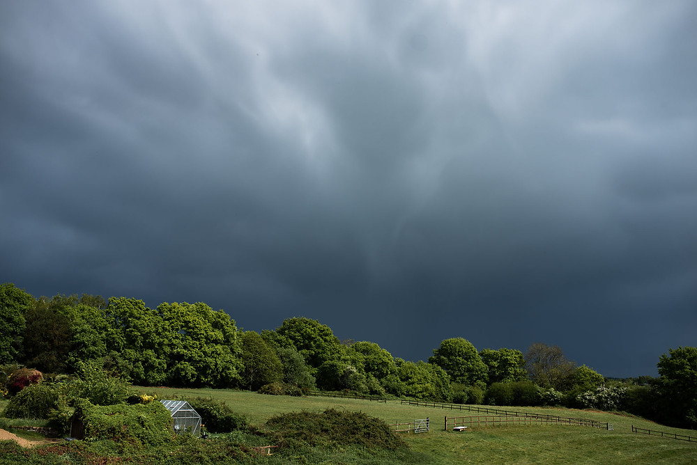 rain clouds over countryside in Uckfield, East Sussex