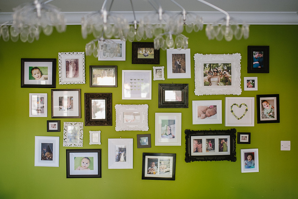 Gallery wall with black and white frames