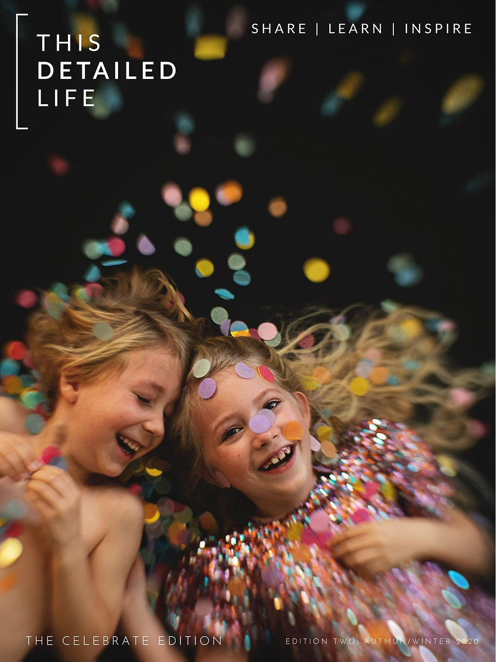 Sparkly Children laying in colourful confetti