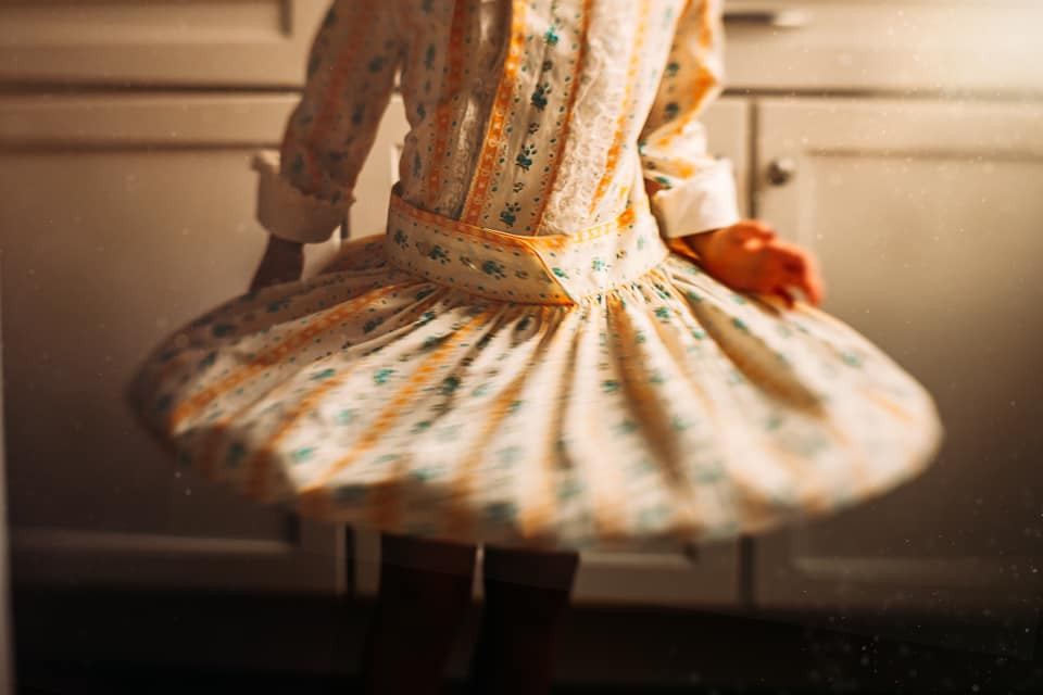 twirling summer floral dress