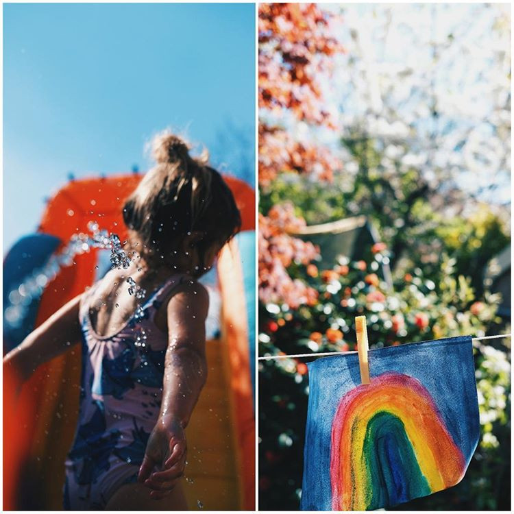 Rainbow painting hanging on washing line