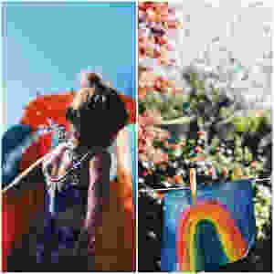 Rainbow painting hanging on washing line