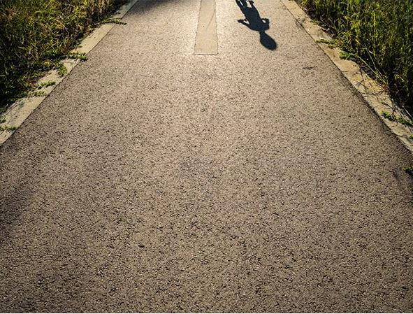 shadow on empty road
