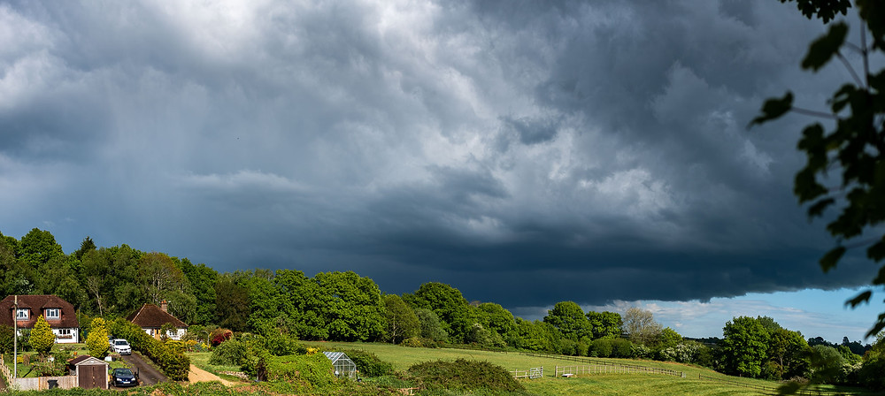 storm clouds over countryside in Buxted, East Sussex
