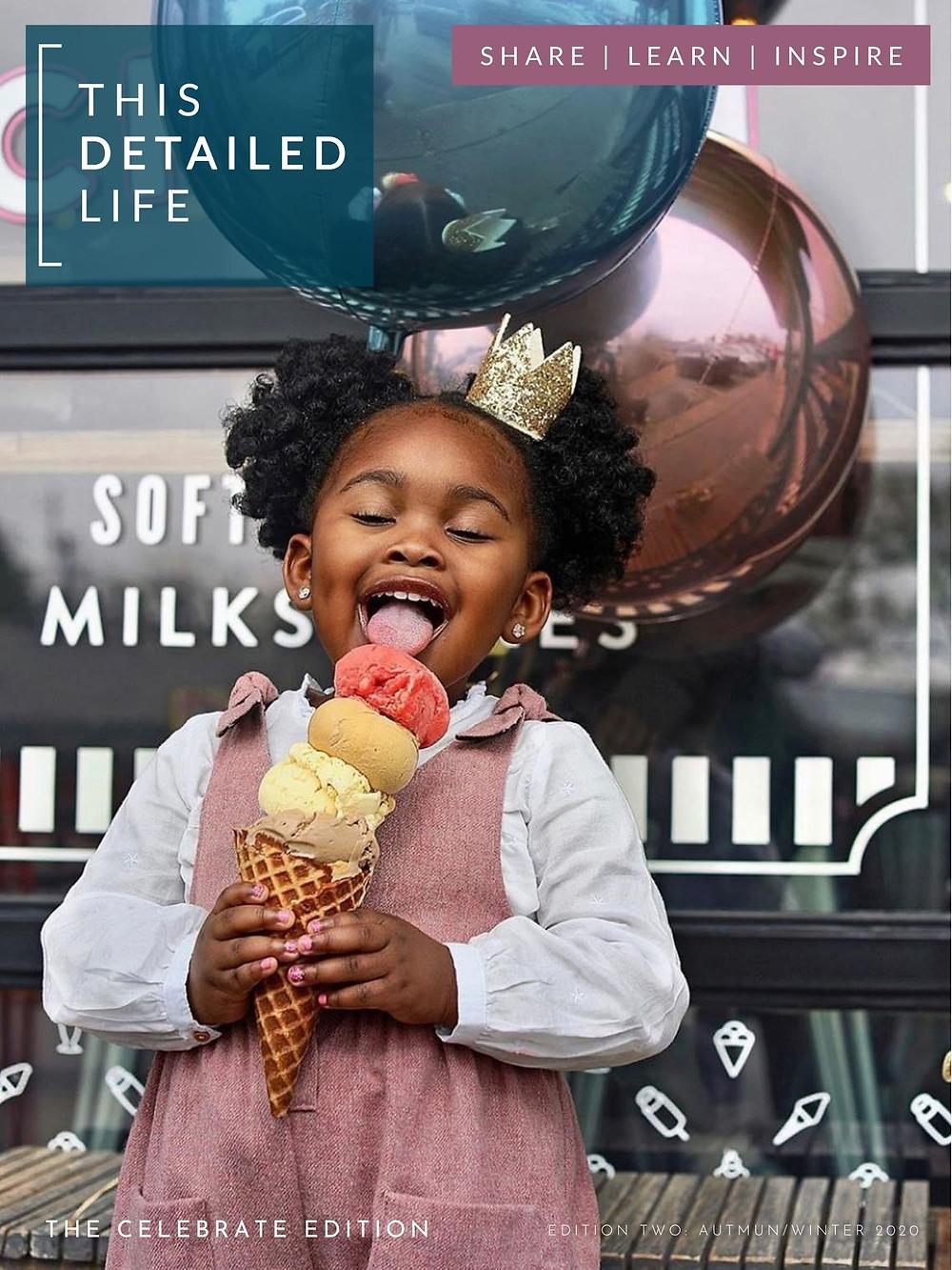 Girl enjoying ice-cream with balloons
