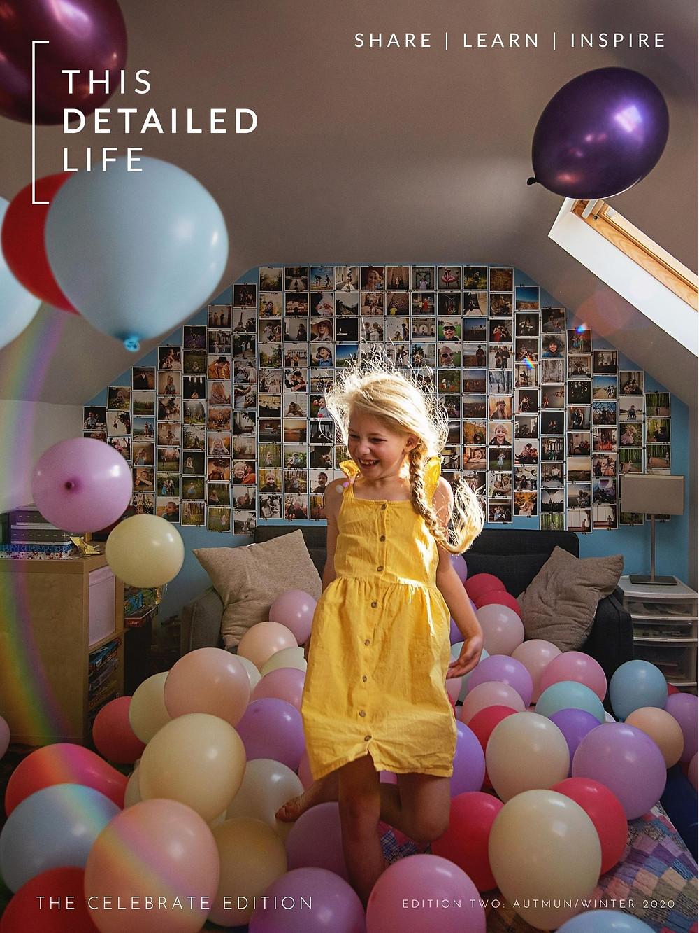 Girl in yellow dress dancing in balloons