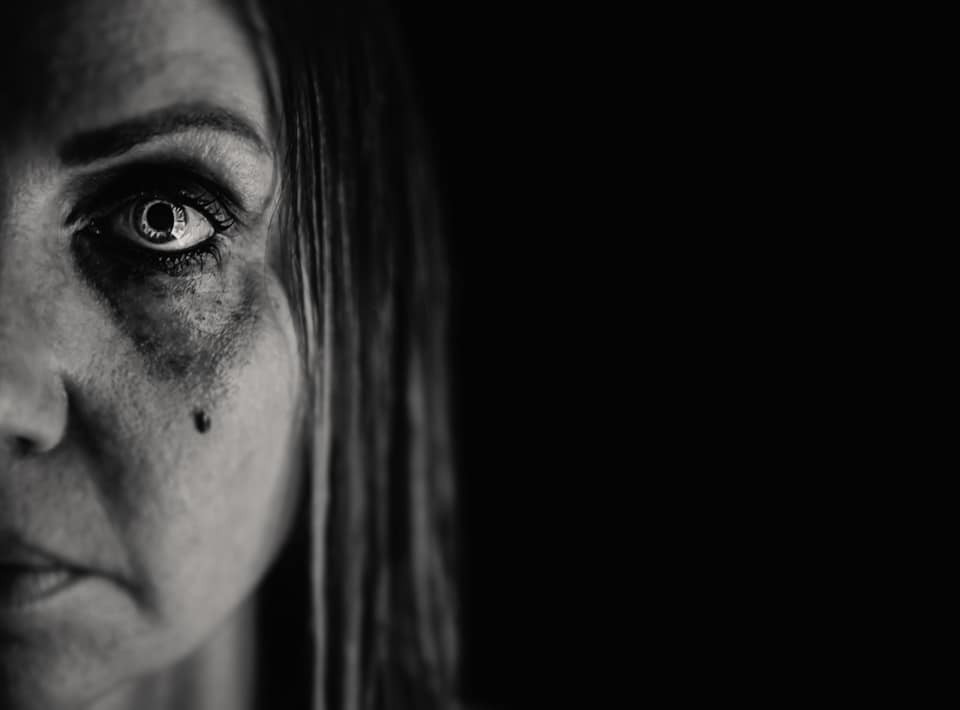 Woman's Eye crying blackened tear